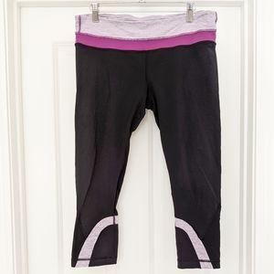 Lululemon Athletica black purple cropped leggings